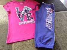 Girls Justice short sleeve tee cropped sweatpants outfit size 12/14(Euc)