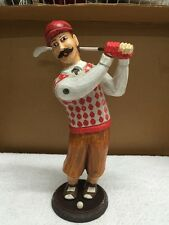 Old Style Golfer Wood Carved Figurine