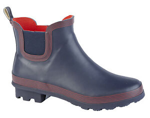 Ladies Navy Blue Ankle Wellies Short Slip On Wellington Boots Sizes 3 to 9
