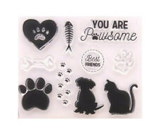 CAT/DOG THEMED CLEAR RUBBER STAMP-ANIMAL PAW PRINT/BONE TRANSPARENT SILICONE