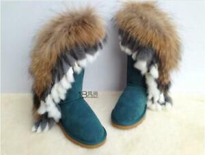 Women Mid Calf Boots Snow Boots Round Toe Fox Fur Winter Boots Warm Shoes Blue