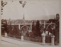 Bern Panorama Pont Suisse Foto Vintage Citrato c1900