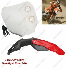 FARO DELANTERO PIATTO BLANCO Y GUARDABARROS ROJO HONDA CR XL XR SM CRF XLR