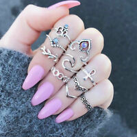 10pcs Women Punk Knuckle Rings Vintage Tribal Ethnic Hippie Stone Joint Ring Set