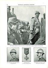 WWI Gaz Equipement Poilus Lunettes Casque Adrian Croix de Guerre  A ILLUSTRATION