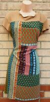 KIMIKA MADE IN ITALY BAROQUE TRIBAL FAUX SUEDE SHIFT TUNIC SMOCK TEA DRESS 10 12