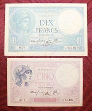 Lot de 2 billets : 10 Francs Minerve et 5 Francs Violet
