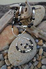 Handmade earring, bracelet & necklace set with Sterling Silver, Black Onyx.