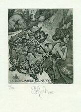 Exlibris Etching  Bookmark: Agriba