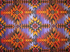 Navajo Indian Purple Orange Tan Southwestern Print Cotton Fabric BTHY