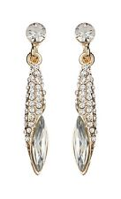 CLIP ON EARRINGS - gold drop earring with clear stones & crystals - Bianca