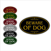 """Beware of Dog Aluminum 12"""" x 7"""" Oval Wall or Door Sign With Choice of Colors"""