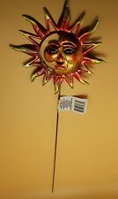 Sun Garden Stake Metal Sunburst Red Gold