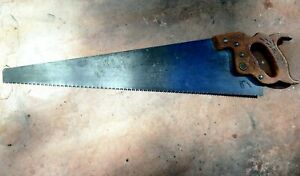 Henry Disston and Son Hand Saw D-23 Inscribed metal Carved Wood Handle ANTIQUE