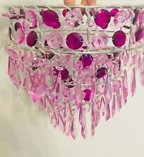 Girls Bedroom Nursery Pink Purple Sparkly Star Ceiling Light Shade Pendant Shade