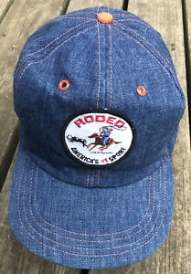 RODEO America's #1 Sport Embroidered Patch hat cap DENIM Cowboy Snapback vintage