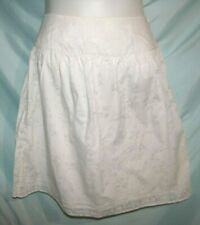 Bass White Ghosted Floral Print Polyester Cotton A-Line Skirt Size 6 Above Knee