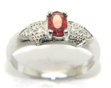 Women's Ladies 9ct 9carat White Gold Diamond Ring with a Red Stone Size N 1/2