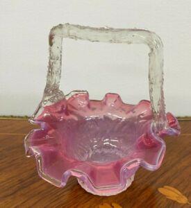 Vintage Vaseline Cranberry Glass Basket Flower Vase