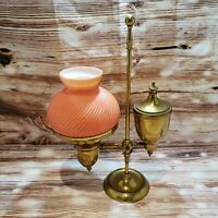 Vintage Solid Brass Electric Desk Student Lamp Pink Milk Glass Shade *READ*
