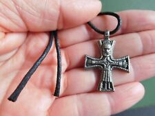Hand Cast Pewter Viking Cross Pendant On Black Cord Necklace On Info Card
