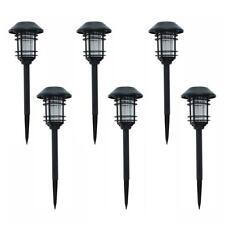 Solar Black Outdoor Integrated LED Landscape Path Light (6-Pack)