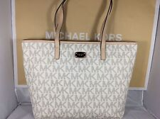NWT Michael Kors Vanilla PVC Jet Set Laptop Computer Multifunction Tote Bag