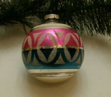 Vintage Shiny Brite Ornament Jumbo X-Lg Mica Pretty Pink Blue White And Silver