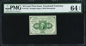 1862-63 10 CENTS FRACTIONAL CURRENCY FR1242 CERTIFIED PCGS CHOICE VERY NEW-64EPQ