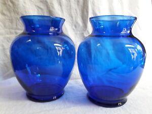 "Two Cobalt Blue Glass Vases Curvy Ginger Jar Style  6-1/4"" Tall Vintage"