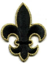 FLEUR DE LIS BLACK & GOLD SMALL IRON ON PATCH APPLIQUE  7/8 X 1 1/8 inch
