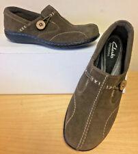Clarks Women's Bendables Suede Leather Slip On Shoes Elastic Button 6M KHAKI