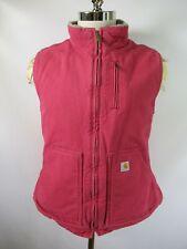 E9774 CARHARTT Sandstone Sherpa Lined Mock Neck Work Vest Size L 12-14