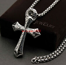 Biker Men's Stainless Steel Rolo Chain Necklace Egyptian Ankh Cross Pendant Cool