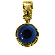 Sterling Silver 18 Karat Gold Overlay Plated Evil Eye Pendant, Diameter 12mm