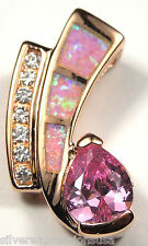 14K Rose Gold Plated 925 Sterling Silver Pink Opal Inlay and Pink Topaz Pendant