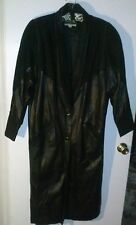 Reptile Design Global Identity Genuine Black Leather Long Trench Coat Jacket Med