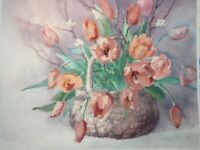 "Dimensions 1986 ""Spring Tulips"" Preprinted Cross Stitch Completed Finished"