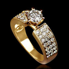 Solitaire with Accents Yellow Gold 14k Fine Rings