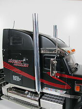"""Pair 1/2"""" Aluminum Exhaust Straight Pipe 1/14 Tamiya Semi Tractor Knight Hauler"""