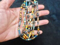 Vintage 1950's Artisan Multi Colored Paper Bead Necklace