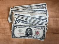 1953 or 1963 $5 Red Seal Paper Money Bill - One Note Per Purchase Five Dollars