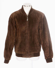 ROUNDTREE & YORKE Brown Suede Leather Bomber Flight Quilt Lined Jacket Mens S