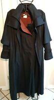 Luxury Wolfgang Kaiser Collette Full Length Mac Coat Wool Cotton Navy Size 16