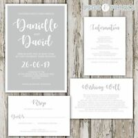 Personalised Luxury GREY & WHITE MODERN wedding invitations packs of 10