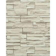 Stacked Stone Brick Wallpaper Beige Heavy Duty Textured Rn1040