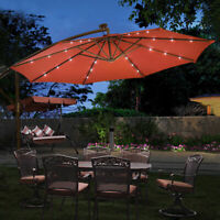 10' Hanging Solar LED Umbrella Patio Sun Shade Offset Market W/Base Burgundy