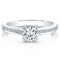 0.60 Ct Round Cut Real Diamond Engagement 14K Solid White Gold Rings Size 6.5 7
