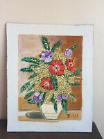 tableau ancien huile sur panneau BIHET (XIXe-s) nature morte