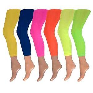 Krautwear Damen Mädchen Leggins Leggings 60den Karneval Fasching Ballett NEON